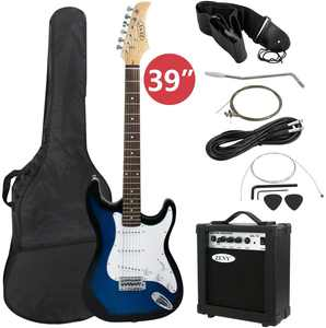 "ZENSTYLE 39"" Full Size Electric Guitar with Amp, Case and Accessories Pack Beginner Starter Package, Blue Ideal Christmas Thanksgiving Holiday Gift"