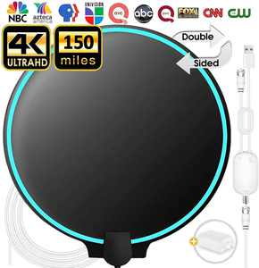 2020 Newest Indoor TV Antenna 100+ Miles Long Range with Built-in Amplifier,13ft Long Coax Cable Digital HDTV Antenna Support All Television, for Free Local Channels 4K HD 1080P VHF UHF