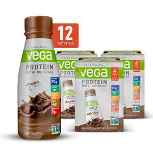 Vega Vegan Protein Nutrition Shake, Chocolate, 20g Protein, 11.0 Fl Oz, 12 Ct