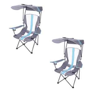 Kelsyus Premium Camping Folding Lawn Chair with Canopy, Blue (2 Pack)