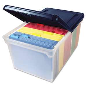 Innovative Storage Designs File Tote with Hinged Lid, Letter, Plastic, Clear/Navy