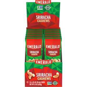 Emerald Nuts, Sriracha Cashews, 1.25 Oz Bags 12 Ct