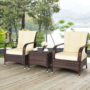 Costway 3PCS Outdoor Patio Mix Brown Rattan Wicker Furniture Set with Beige Cushions