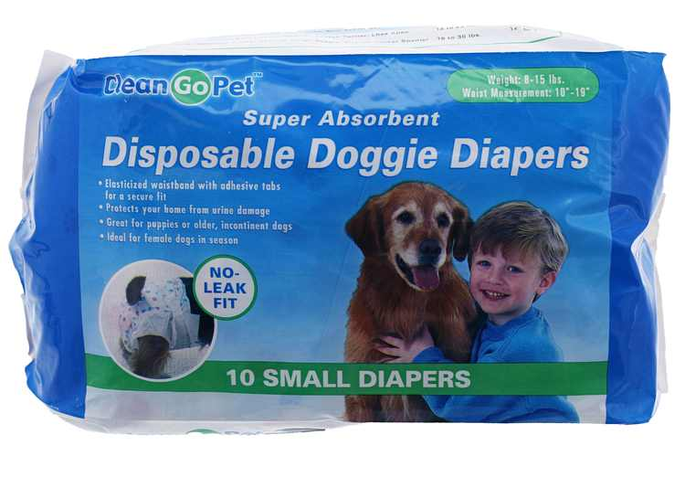 Clean Go Pet Disposable Leakproof Doggy Diapers, 10 Count, Small
