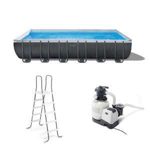 "Intex 24' x 12' x 52"" Ultra XTR Rectangular Frame Swimming Pool Set + Pump"