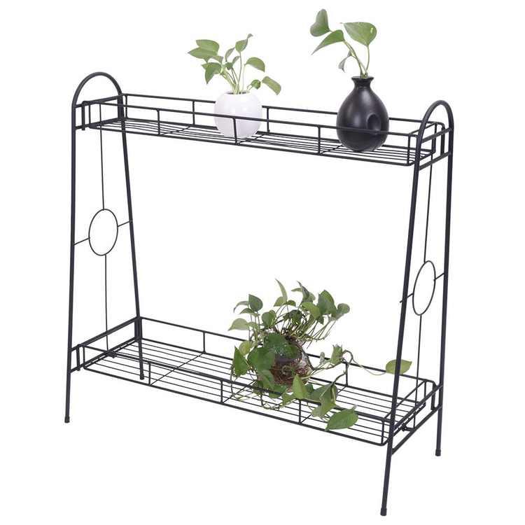 Artisasset 2-Tier Metal Flower Plant Stand Black for Indoor & Outdoor