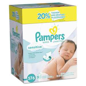 Pampers Sensitive Baby Wipes, White, Cotton, Unscented, 64/pack, 9 Pack/carton