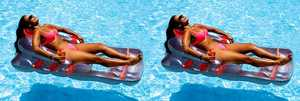 2 New Swimline 9041 Swimming Pool Inflatable Deluxe Lounge Chairs w/Back Support