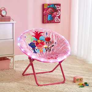 "Trolls 2 LED Light Up Kids Folding Lounge Saucer Chair, 23"" Size"