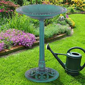 Outdoor Garden Green Pedestal Bird Bath Feeder PS6502