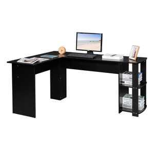 Ktaxon L-Shaped Computer Desk Corner Desk Laptop Study Table Desk for Home Office, Black