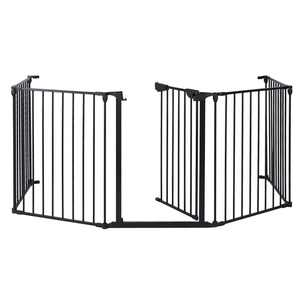 Ktaxon 5 PCS Upgraded Installed Fireplace Safety Fence Baby Gate/Fence BBQ Pet Metal Fire Gate