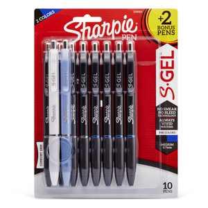 Sharpie S-Gel, Gel Pens, Medium Point (0.7mm), Assorted Colors and Barrels, 10 Count