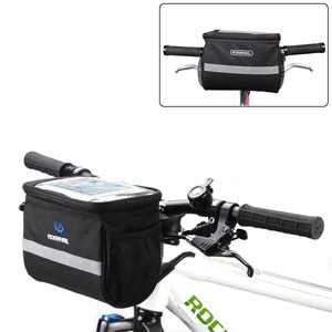 EEEkit Bike Front Handlebar Bag, Waterproof Bicycle Front Storage Bag, Outdoor Cycling Pouch Front Basket with Touchscreen Transparent PVC Pouch for Smartphone Holder, Wallet, Sunglasses