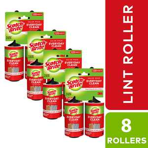 Scotch-Brite Lint Roller, 8 Count Value Pack, 60 Sheets per Roller