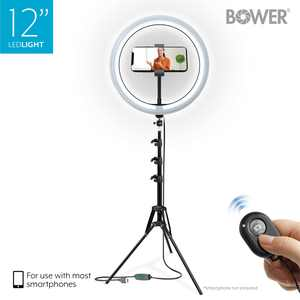 "Bower 12 Studio Light USB Power Ball-Head Mount 62"" Adjustable Tripod 3 Colors 10 Brightness Levels In-Line Remote"
