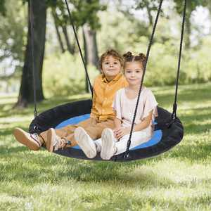 "ZENY 40"" Waterproof Saucer Web Swing Or Saucer Tree Swing - 360 Rotate - Attaches to Trees or Existing Swing Sets - Adjustable Hanging Ropes - for Kids, Adults and Teens"