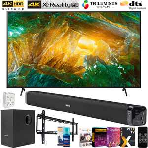 Sony XBR65X800H 65-inch X800H 4K UHD LED Smart TV (2020) Bundle with Deco Gear 60W Soundbar with Subwoofer, Wall Mount, 6-Outlet Surge Adapter, Screen Cleaner