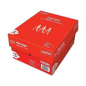 "Staples 8.5"" x 14"" Copy Paper 20 lbs. 92 Brightness 500/Ream 10 Reams/CT 221193"