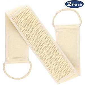 Loofah Back Scrubber - Exfoliating Loofah Back Scrubber,Long Shower Luffa Sponge with Bar Soap Pocket, Body Sponge Scratcher with Natural Loofah for Bath Shower - 2pack