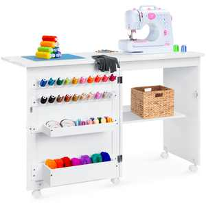Best Choice Products Folding Sewing Table Multipurpose Craft Station & Side Desk with Wheels, Shelves, Bins, Pegs