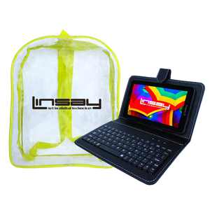 "LINSAY 7"" Tablet 2 GB RAM 16 GB Android 9.0 Bundle with Black Keyboard Case and Bag Pack Dual Camera"