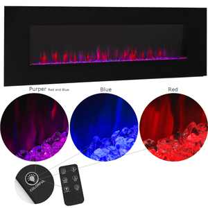 "XtremepowerUS 50"" Wall Mount Electric Fireplace Changeable Flame Glass + Remote Control, 750W/1500W"