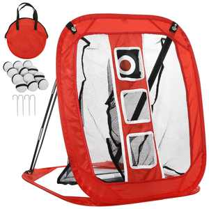 Golf Chipping Net with 12 Foam Training Balls - Collapsible Golfing Target for Indoor/Outdoor Use - Pop Up Golf Chipping Net - for Accuracy and Swing Practice