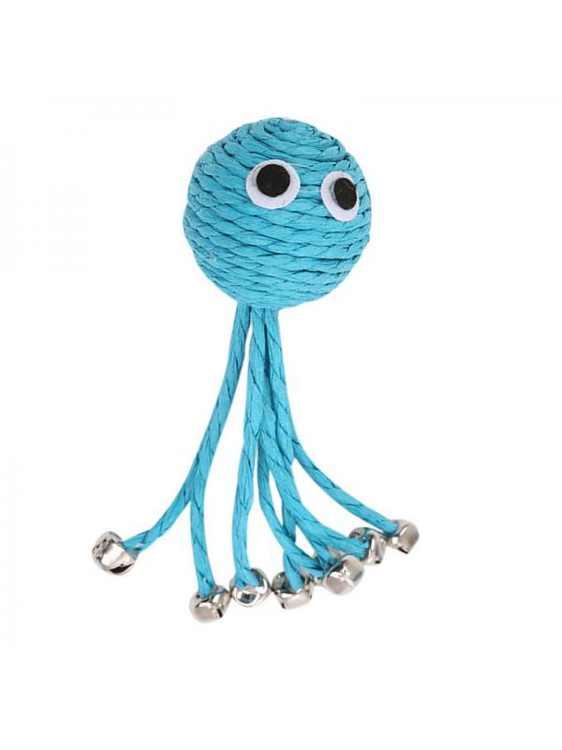Topumt Pet Cat Blue Octopus Woven Bell Scratching Toy