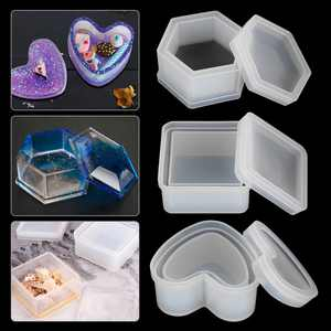 EEEkit 3 Pieces Silicone Resin Molds with Lid, Jewelry Storage Box Epoxy Resin Casting Molds with Heart Hexagon and Square Shape, Jewelry Pendant Box Casting Molds, DIY Art Craft Tools Set for Beginners