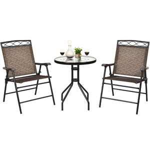Costway 3 PCS Bistro Conversation Patio Pub Dining Set W/ 2 Folding Chairs & Glass Table
