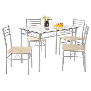 Zimtown 5 PC Dining Set Glass Top Table and 4 Chairs Kitchen Room Furniture