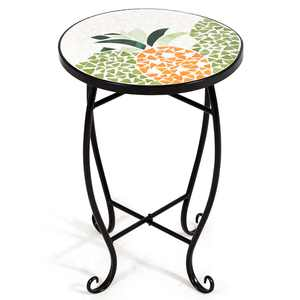 Costway Pineapple Outdoor Indoor Accent Table Plant Stand Scheme Garden Steel