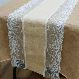 """BalsaCircle 14""""x108"""" Natural Brown Burlap Table Runner with Lace - Rustic Wedding Party Linens Decorations"""