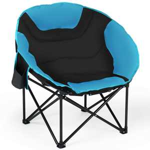 Gymax Moon Saucer Steel Camping Chair Folding Padded Seat w/ Carry Bag