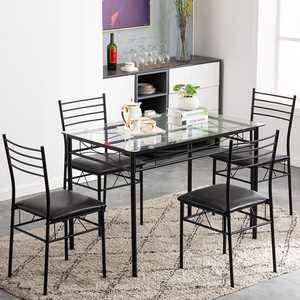 Zimtown 5 Pieces Dining Set Table with 4 Chairs Kitchen Dining Room Furniture Glass Table Top with Metal Frame