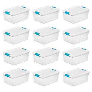 Sterilite 15 Quart Clear Plastic Stackable Storage Tote Container w Lid, 12 Pack