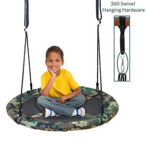 """Clevr 40"""" Outdoor Saucer Kids Tree Tire Swing, Camo"""