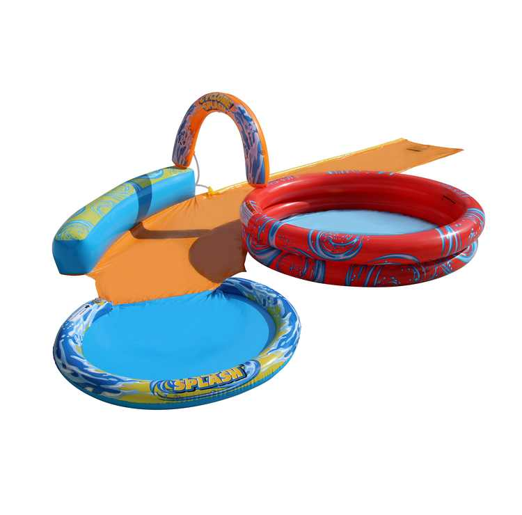 BANZAI Cyclone Splash Park 3-in-1 Sprinkler, Pool and Curved Slide - Outdoor Backyard Summer Water Play for Kids