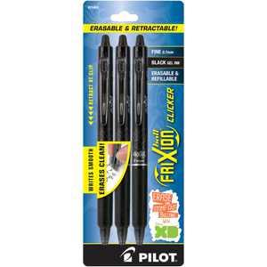 Pilot Frixion Clicker Erasable Gel Pens, Fine Point, Black Ink, 3 Pk, 33161016
