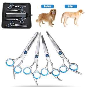 """HALLOLURE 6"""" 7in1 Professional Stainless Steel Pet Grooming Scissors Set Curved Thinning Scissor Shear Hair Cutting+Comb+Clean Cloth + Scissors Case For Dog Cat Animal"""