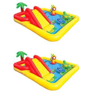 Intex 100 x 77 x 31 Inch Inflatable Play Center Swimming Pool + Games (2 Pack)