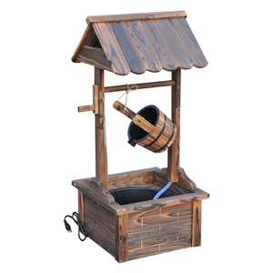 Outsunny Outdoor Accent Decorative Rustic Wishing Well Fountain