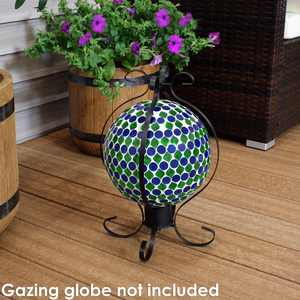 Sunnydaze Metal Gazing Globe Stand with Enclosed Design, 16-Inch Tall