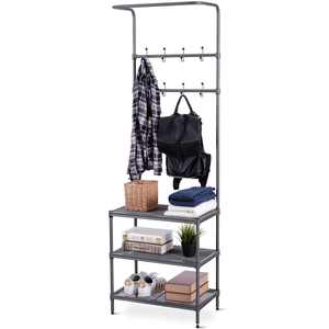 Costway Metal Entryway Coat Hat Shoes Rack 3 Tier Storage Shelf 16 Hooks Storage Rack