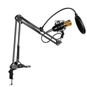 BM-800 Condenser Microphone + Phantom Power + NB-35 Stand with Cable + T1 Pop Filter Wind Screen for Radio Broadcasting Studio Recording (Black)