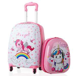 Gymax 2PC Kids Carry-on Luggage Set 12'' Backpack & 16'' Rolling Suitcase for School Travel ABS