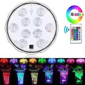 Swimming Pool Light 16-color RGB 10-LED Bulb Remote Control Underwater for Vase Party Wedding Decor