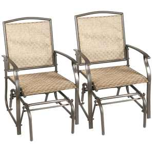 Costway 2PCS Patio Swing Single Glider Chair Rocking Seating Steel Frame Garden Brown