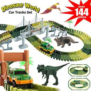 Dinosaur Track Toy, 144Pcs Dinosaur Toys Race Car Flexible Track Sets for Kids & Toddlers, Dinosaurs Cars Vehicle Playset Toys Set for Christmas & Birthday Gift